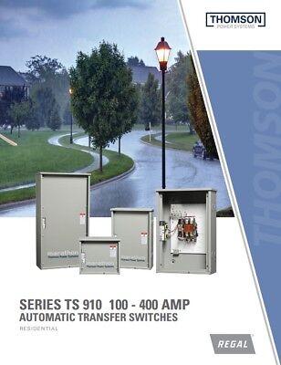 200a Thomson Technology Transfer Switch 1 Ph 120240v 2 Pole Nema 1 Encl Ats