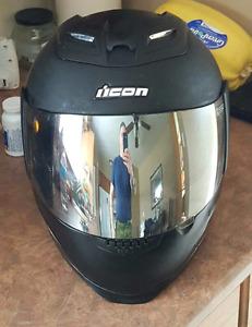 Black Icon Motorcycle Helmet