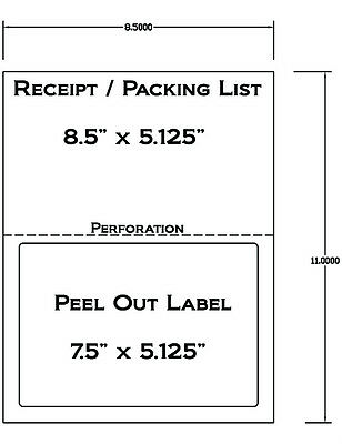 1000 Laser Ink Jet Labels For Use With Fedex Ups Paypal Tear Off Receipt 5127