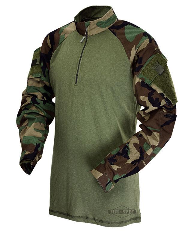 Woodland Camo 1/4 Zip Tactical Combat Shirt by TRU-SPEC 2545 / FREE SHIPPING