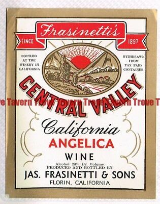 For sale Unused 1940s CALIFORNIA Florin Jas Frasinetti CENTRAL VALLEY ANGELICA WINE label