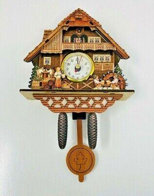 Vtg HD 1688 Sang Tai Cardboard Cuckoo Clock Small Quartz Dutch Scene