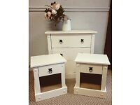 Children's bedroom set, old cream, chest of drawers , beside tables