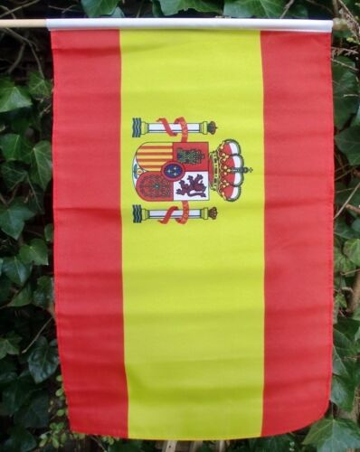 "SPAIN WITH CREST LARGE HAND WAVING FLAG 18"" X 12"" WITH 24"" POLE flags SPANISH"