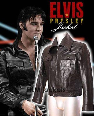 Elvis Jacke (Elvis Herren Schwarz Klassische Echtes Weiches Lammfell Leder Modische Jacke)