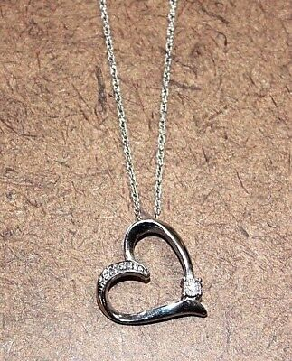 Sterling Silver Diamond Studded Heart Pendant Necklace 18