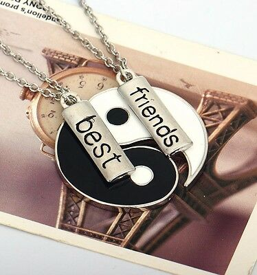 2 PC Tai Chi Yin Yang His and Hers Couples Paired Pendant Necklaces With Chain