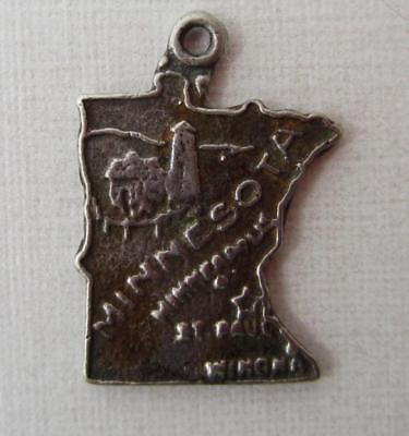 - Vintage Sterling Silver MINNESOTA STATE MAP Charm BELL TRADING POST Sterling