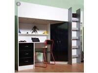 High sleeper with desk and wardrobe