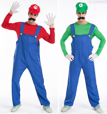 Men Super Mario Luigi Brothers Costume + Hat Plumber Workmen Outfit Carnival  - Luigi Costume Men
