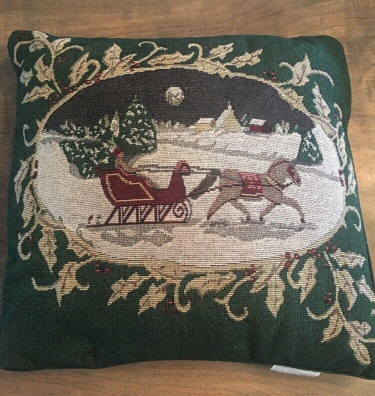 Vintage Christmas Throw Pillow Santa Claus Sleigh Reindeer Snowy Night 15x16