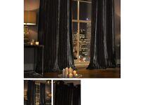 Crushed velvet Lined black eyelet curtain 90 by 90