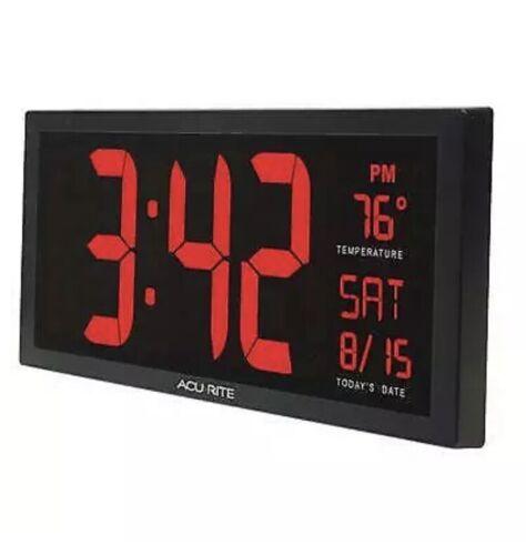 AcuRite 14.5-inch Large Digital Clock with Indoor Temperatur