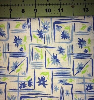 Vintage Feedsack Quilt Blue And Green Floral Pattern 40s Flour Sack Material