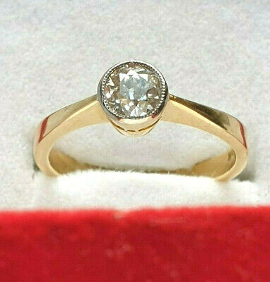 18ct Gold Natural 0.54ct Cushion Diamond Solitaire Bham 1992 Size M US 6.5 Nice for sale  Shipping to South Africa
