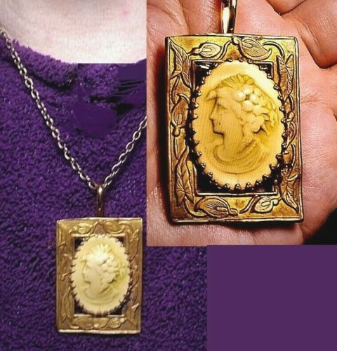 """Cameo of Flora 1 7/8"""" 1930s Celluloid Goddess of Flowers Brass Lily Set Necklace"""