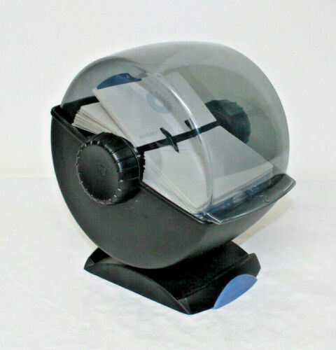 Rolodex Rotary Swivel File Index Cards Organizing System Covered Smoke