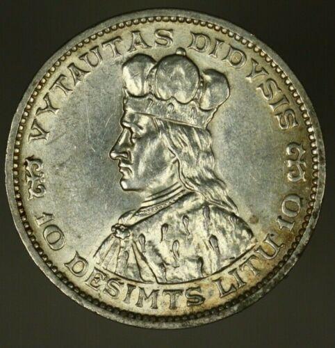 Lithuania Silver 10 Litu  1936  AU  A1226