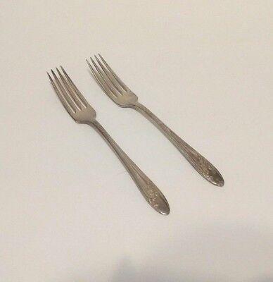 "Oneida Silver Tudor Plate Set of 2 Queen Bess II Dinner Forks Flatware 7.5"""