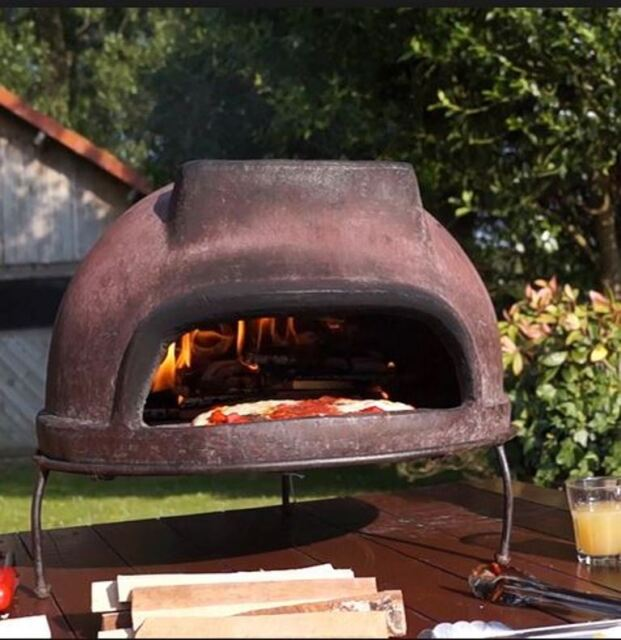 Attractive Outdoor Wood Fired Pizza Oven, Portable W/Grill Stand, Handmade Brown  Terracotta