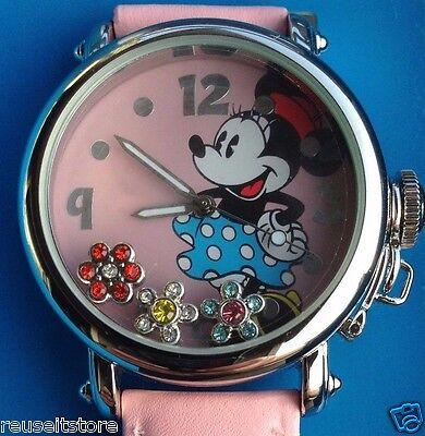 DISNEY Store MINNIE MOUSE WATCH Pink Flower Gem Floats Wristwatch Ladies Womens
