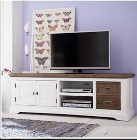 TV lowboard 180cm wide in white brown selling at £180