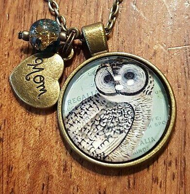 MOM BIRTHDAY GIFT OWL NECKLACE HEART CHARM LOVE NATURE JEWELRY BIRD NEW
