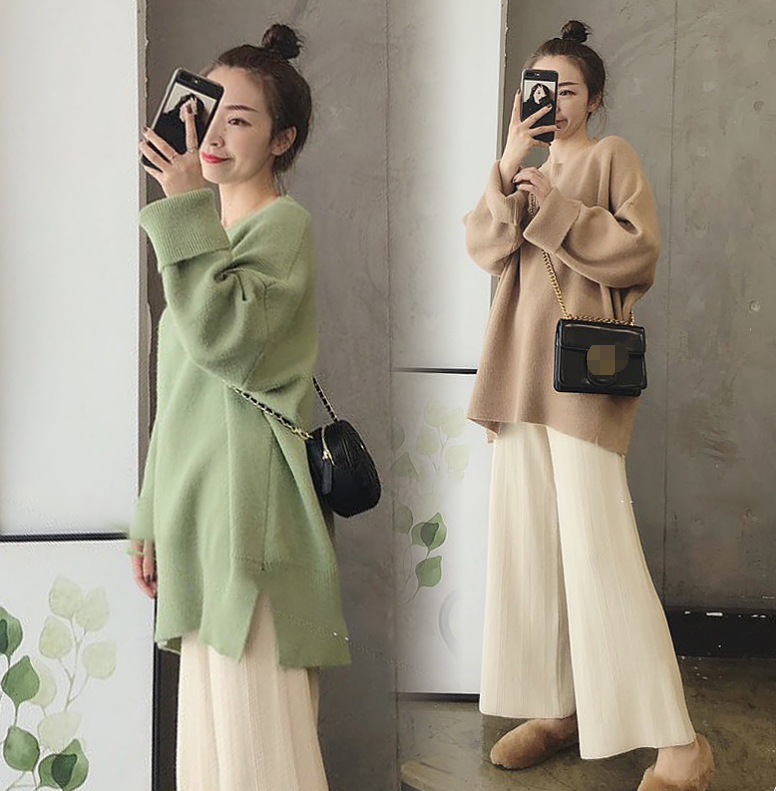 Womens Cashmere Knit Sweater Wide Leg Pants Suits Kintting Winter Thicken 2Pcs