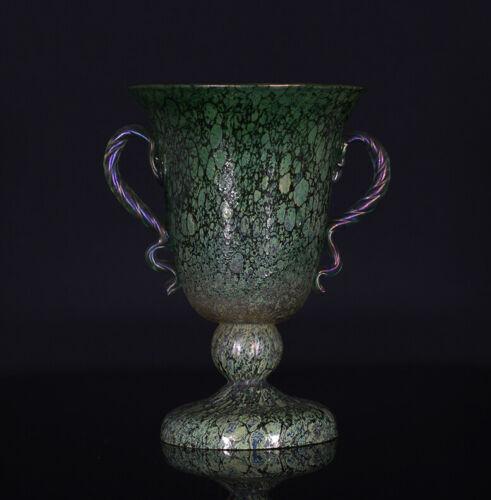 A BEAUTIFUL art nouveau BOHEMIAN IRIDESCENT KRALIK AMPHORA SHAPED VASE