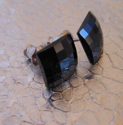 HYPOALLERGENIC Earrings Swarovski Elements Crystal Matrix Lattice in Jet