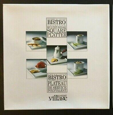 Gourmet Du Village Bistro White Porcelain Square Platter Serving Tray 9 3/8