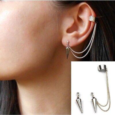 Punk Rock Rivets Chain Tassel Dangle Ear Stud Cuff Wrap Earrings Eardrop P29