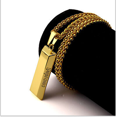 SUPREME GOLD BAR PENDANT NECKLACE FRANCO CHAIN 18KT PLATED HIP HOP BOX LOGO UZI