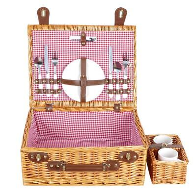 Vintage Outdoor Wicker Picnic Basket Willow Rattan Set for 2 Persons Handwoven  2 Person Willow Picnic Basket