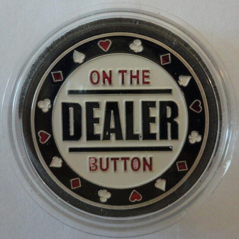 DEALER BUTTON silver color Poker Card Guard Protector