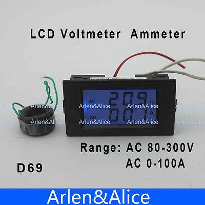 Dual Lcd Voltmeter Ammeter Blue Backlight Panel Ac 80-300v 0-99.9a Black