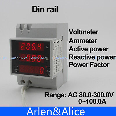 Din Rail Led Voltmeter Ammeter With Active Apparent Power Power Factor 80-300v
