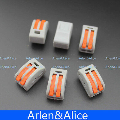 100pcs 2 Pin Universal Compact Wire Wiring Connector Conductor Terminal Block