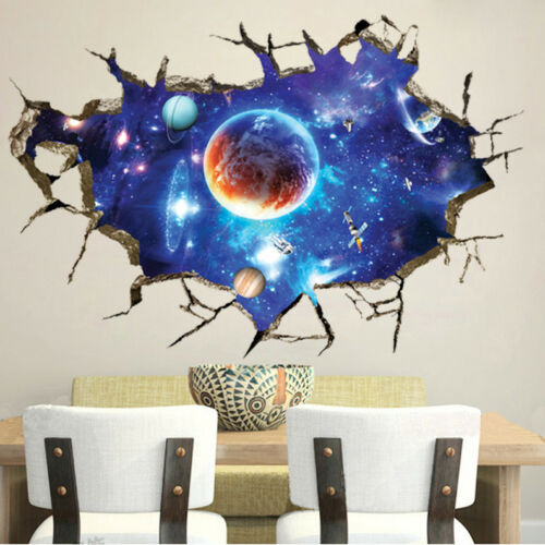 Home Decoration - 3D Outer Space Wall Stickers Room Decor Mural Art Removable Galaxy Wall Decal US