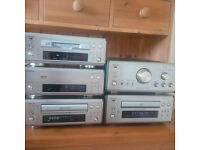Denon 6.5 sound system: stereo tuner, amplifier, CD player, minidisc recorder, tape deck, speakers