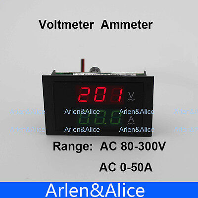 Dual Led Display Blue Backlight Panel Voltmeter Ammeter Range Ac 80-300v 0-50a