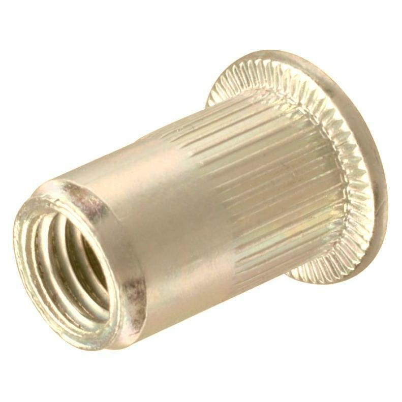 100 Qty #10-24 UNC Rivet Nuts - Zinc Plated Carbon Steel Flat Head Threaded Inse