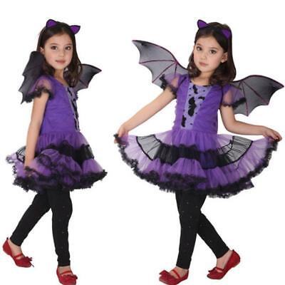 Toddler Kids Baby Girl Halloween Clothes Costume Dress+Hair Hoop+Bat Wing Outfit