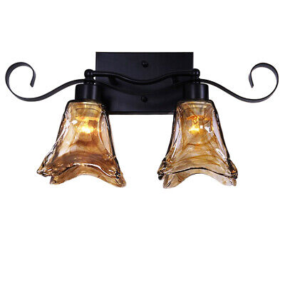 Traditional Handmade Glass Iron Wall Sconce Lighting Fixture Double Light - Tradition Double Sconce