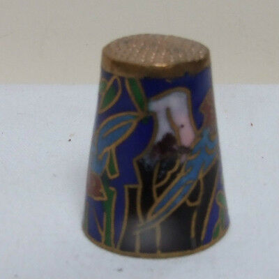 CLOISONNE BRASS ENAMEL COBALT BLUE BIRD THIMBLE COLLECTABLE