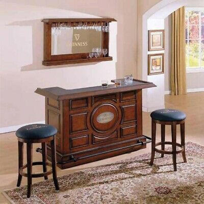 Guinness Home Bar Furniture Set Mirror And 2 Stools