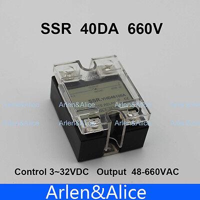 40da Ssr Control 3-32v Dc Output 48660vac Single Phase Ac Solid State Relay