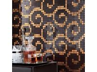 Ultra-deluxe Atlas Concorde gold and mocha Italian mosaic tile sheets. 1/4 price, £89/sqm.