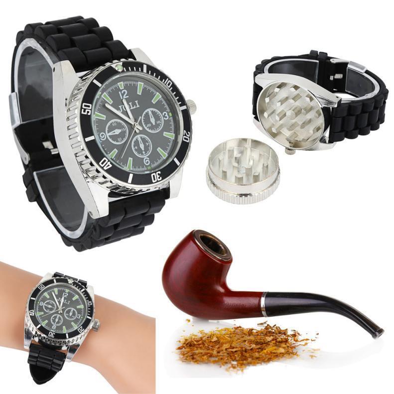 New Black Zinc Alloy Wrist Watch Herb Spice Tobacco Grinder Cigarette Crusher