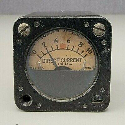 Vintage Roller-smith Direct Current Gauge Bethlehem Pa Aircraft Intsrument